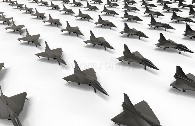 Fighter jet fleet on ground illustration. 3D render illustration of a large fighter jet fleet positioned on ground. The composition is isolated on a white royalty free illustration