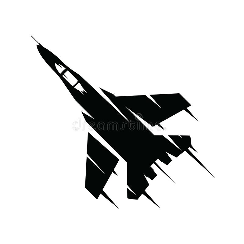 Fighter jet flying on a white background. Military air plane flying in sky isolated on white background. royalty free illustration