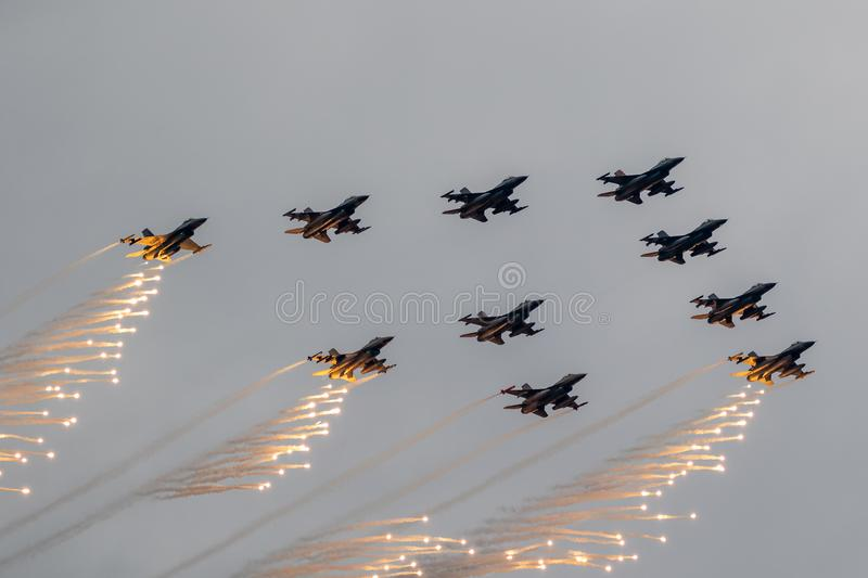 Fighter jet formation royalty free stock photo