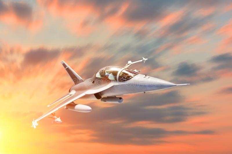 Fighter jet military speed maneuver in flight airforce base on sunset time. stock photo