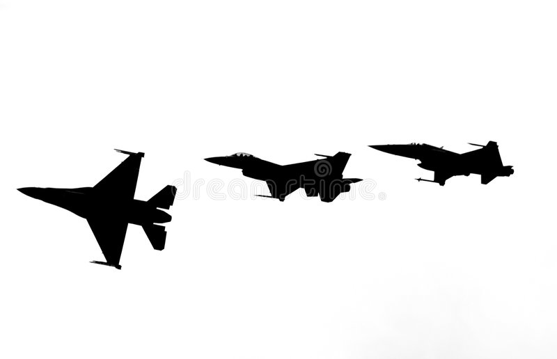 Fighter jets breaking formation abstract royalty free stock image
