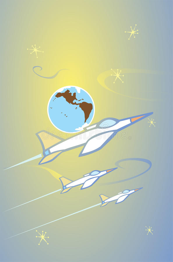 Fighter Jets in Space. Fighter jets fly past the earth in space stock illustration