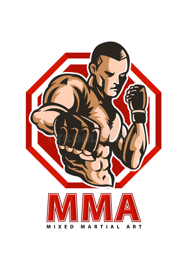Fighter mma. Mixed martial art fighter pose stock illustration