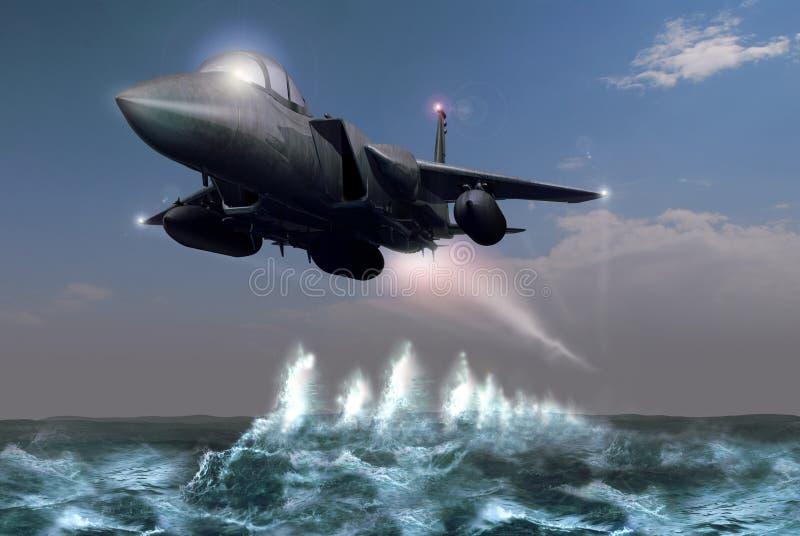 Fighter over the ocean stock illustration