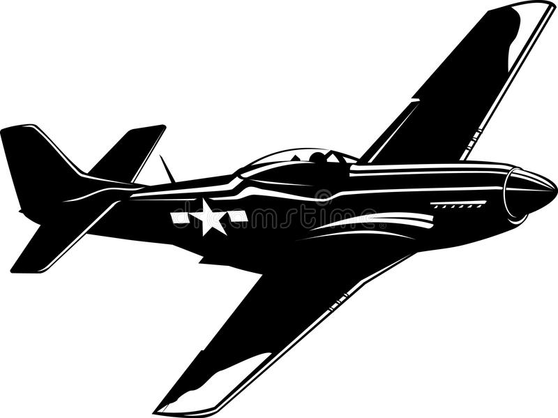 Fighter P51 Mustang black and white stock illustration