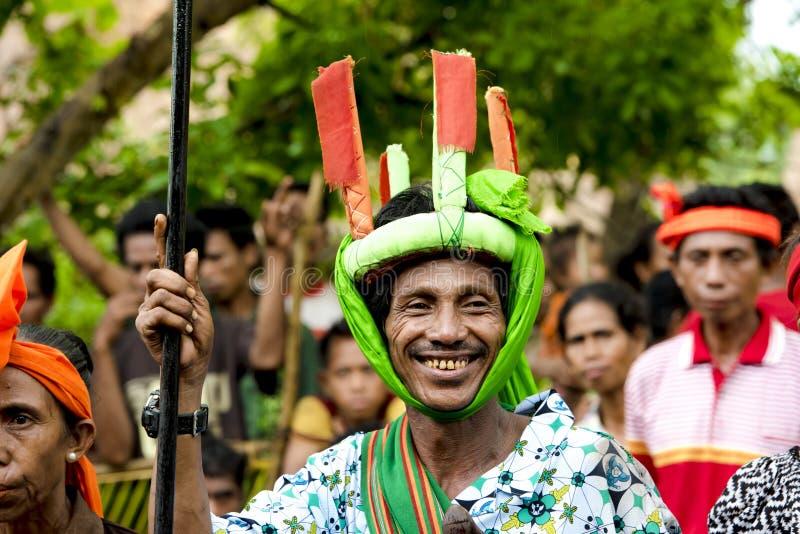 Fighter at Pasola Festival, Kodi, Sumba Island, Nusa Tenggara royalty free stock photos