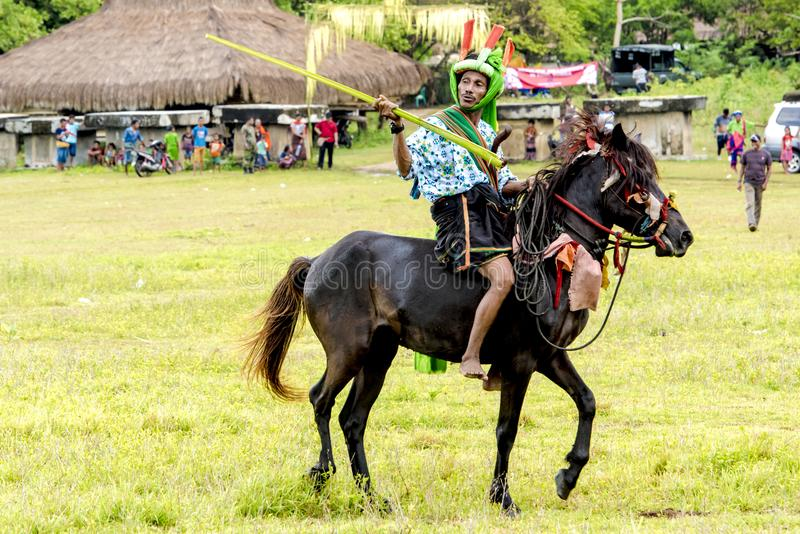 Fighter at Pasola Festival, Kodi, Sumba Island, Nusa Tenggara royalty free stock photography
