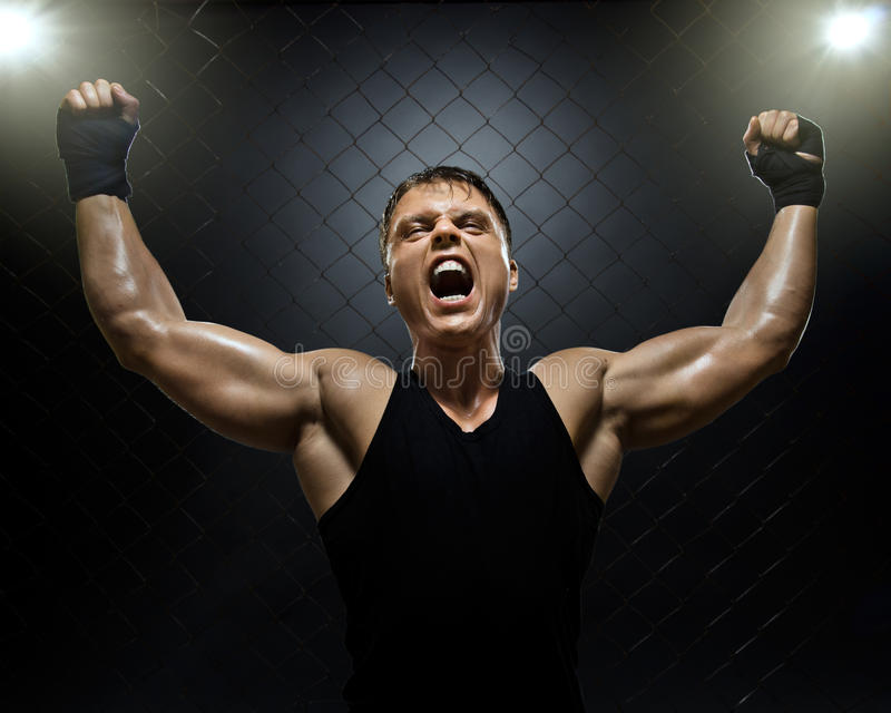 Fighter. Photo muscular young guy street-fighter, triumphant cries yell , hard light royalty free stock photo