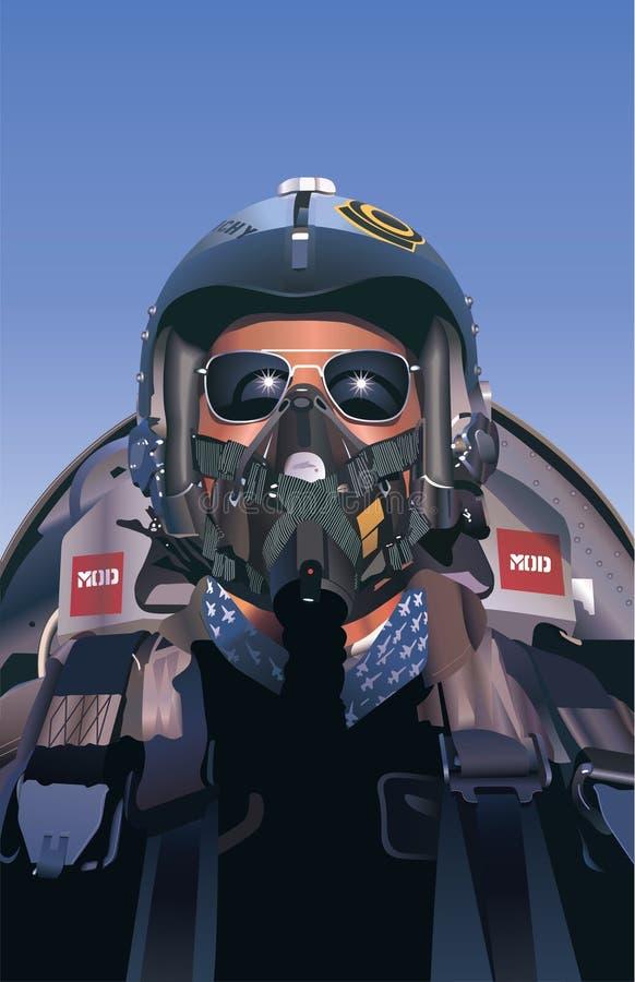 Fighter Pilot Illustration royalty free stock image