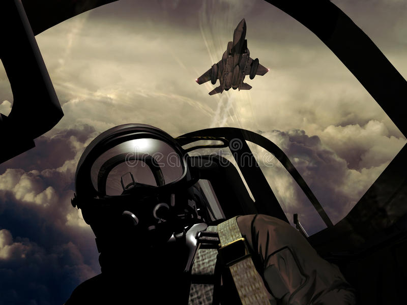 Fighter pilots. Fighter pilot and another fighter into cloudy sky vector illustration