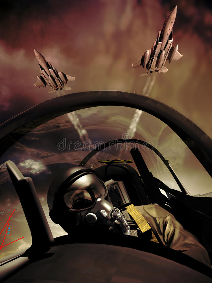 Fighter pilots. Fighter pilot and other fighters into cloudy sky. Vertical image stock illustration