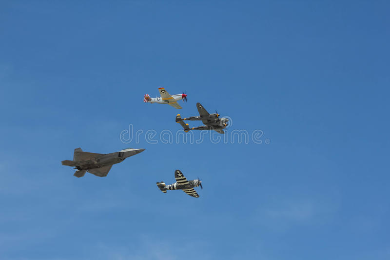 Fighter Planes Flying stock images