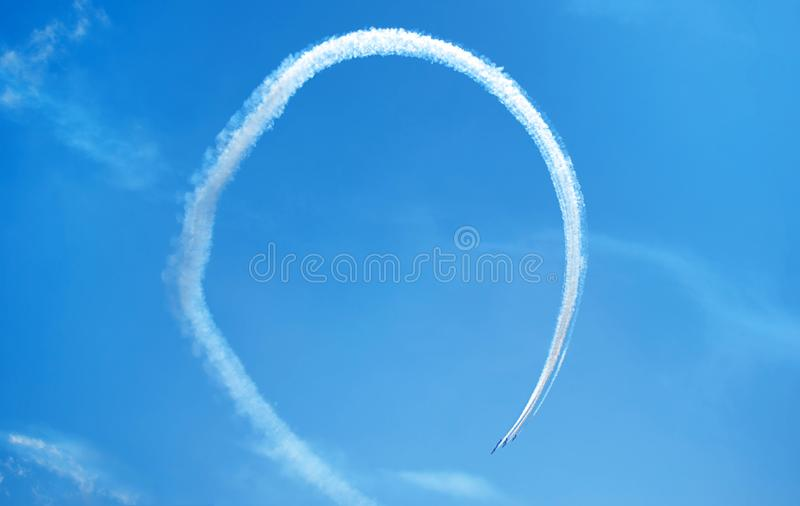 Fighter planes performing a perfect loop in formation stock photography