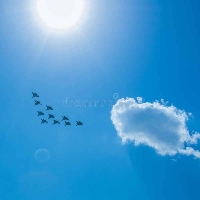 Free Fighter Squadron On Parade In Moscow Stock Photography - 86234612