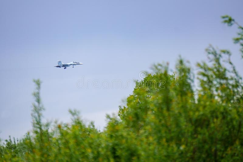 Fighter Su-30, landing approach royalty free stock photography