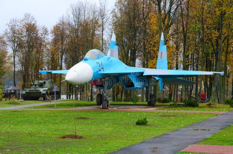 Fighter Su-27 in Park of Three Heroes, Senno, Belarus stock photos