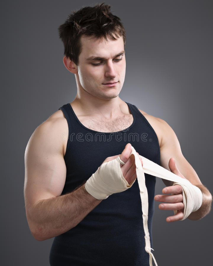 Fighter Taping Hands Portrait