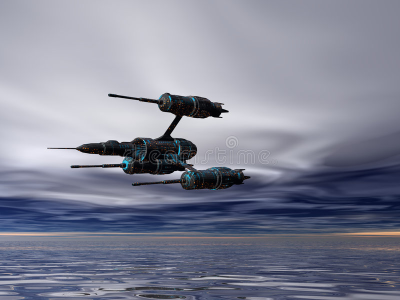 Fighter Three. Space fighter flying over ocean stock illustration