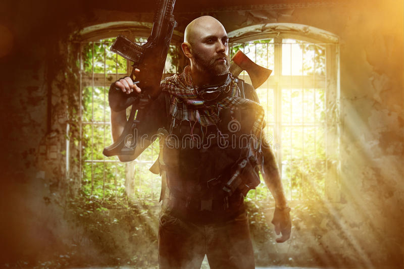 Fighter. With various weapons to survive stock image