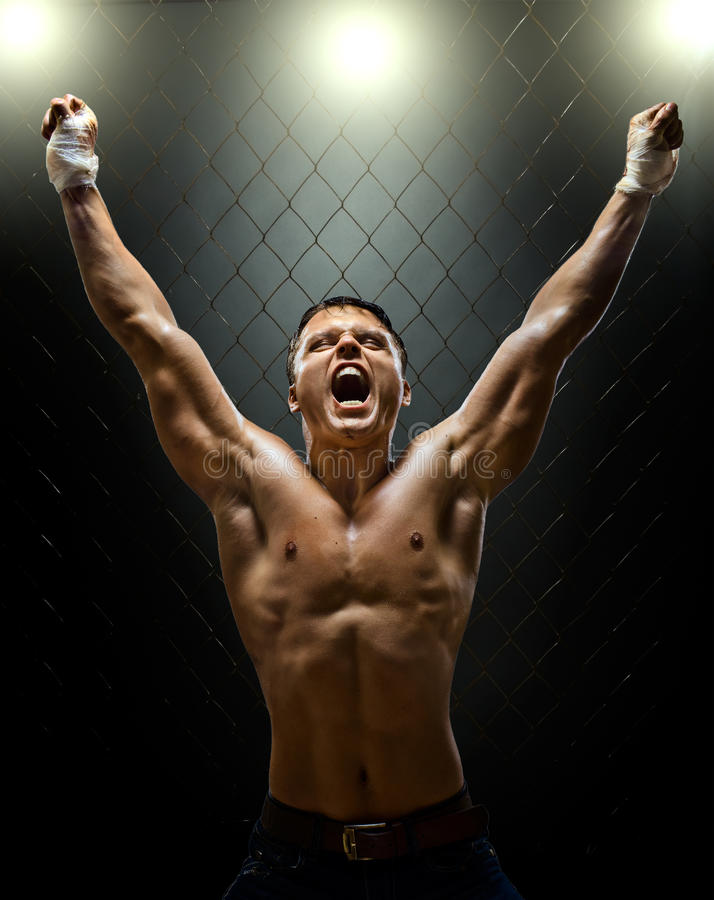 Fighter. Vertrical photo muscular young guy street-fighter, triumphant cries yell , hard light stock photography