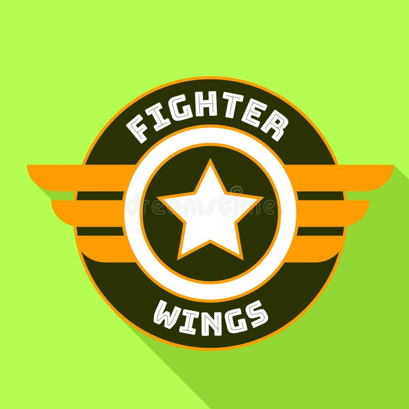 Fighter wings logo, flat style vector illustration
