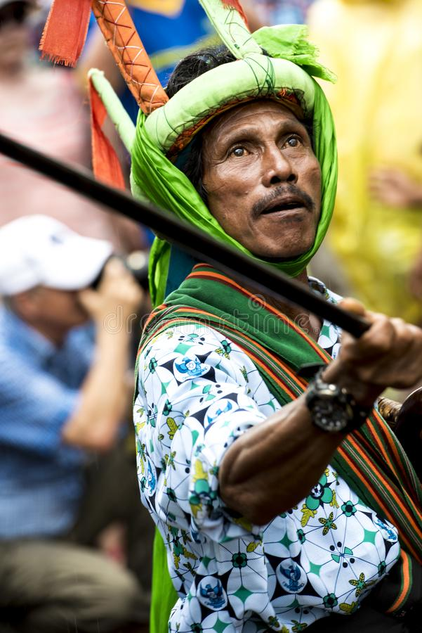 Fighter at Pasola Festival, Kodi, Sumba Island, Nusa Tenggara stock photos