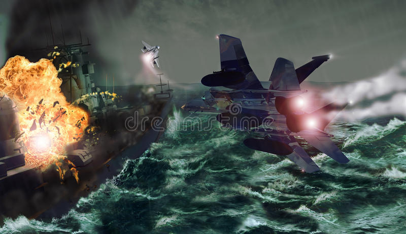 Fighters attack stock illustration