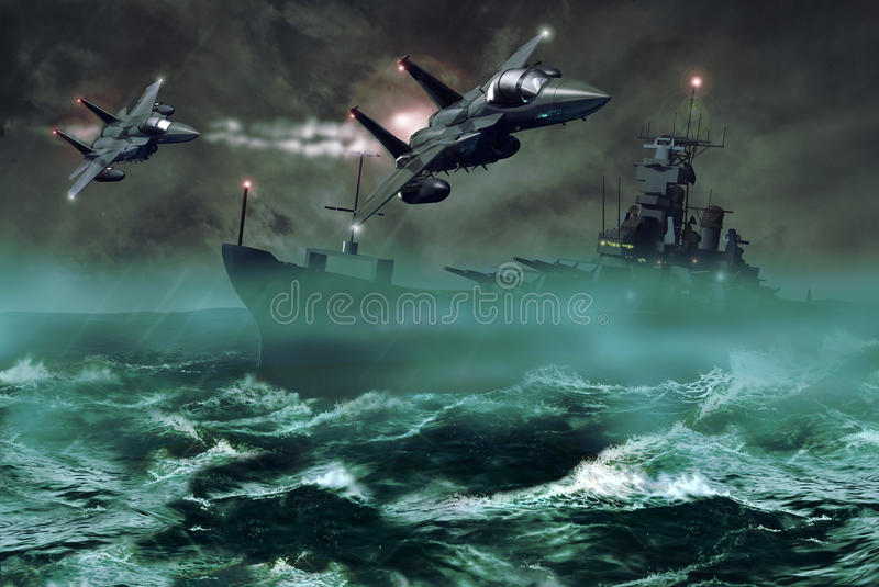 Fighters and destroyer stock illustration