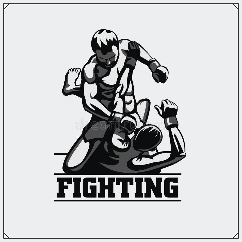 Fighters of martial mixed arts. Sport club emblem. Vector illustration. stock illustration