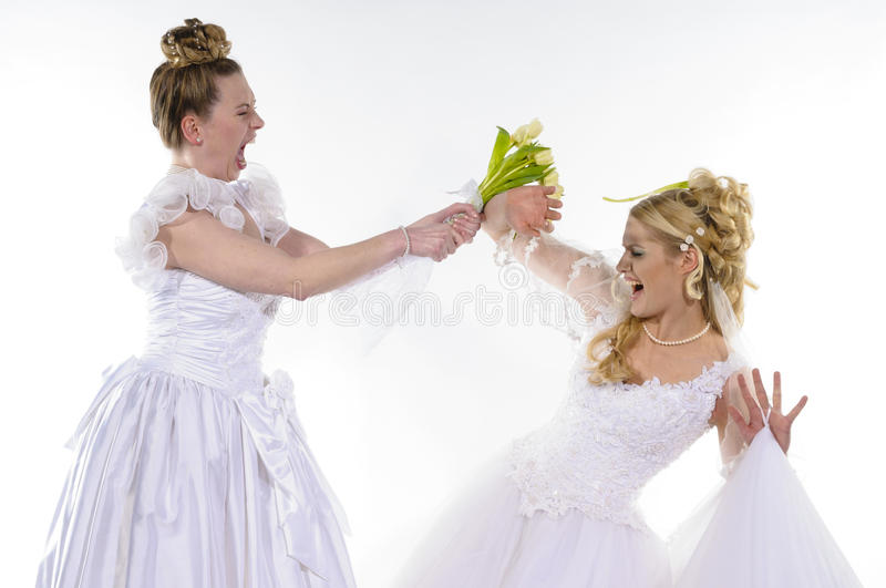 Fighting brides royalty free stock photos