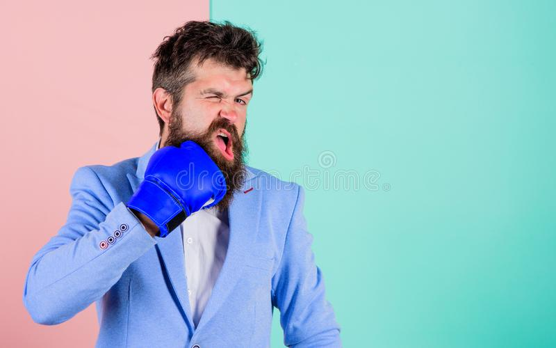 Fighting for business success. Businessman confident in his skills. Strong and powerful. Business as fight on economics stock photography