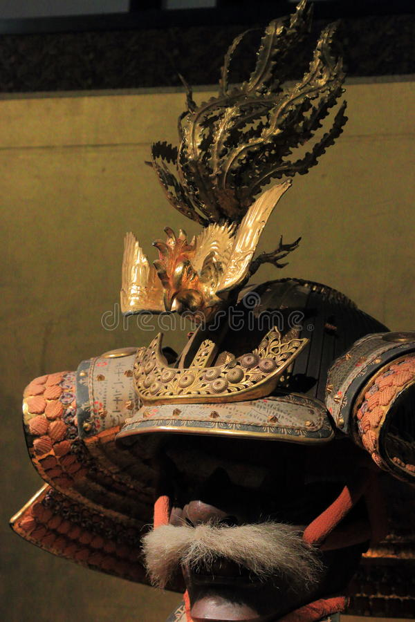 Front view of kabuto helmet close up stock photos