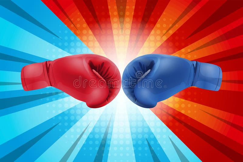 Fighting for comic background. Boxing gloves Red and Blue hitting together on comic background. Fighting for comic background. Boxing gloves Red and Blue royalty free illustration