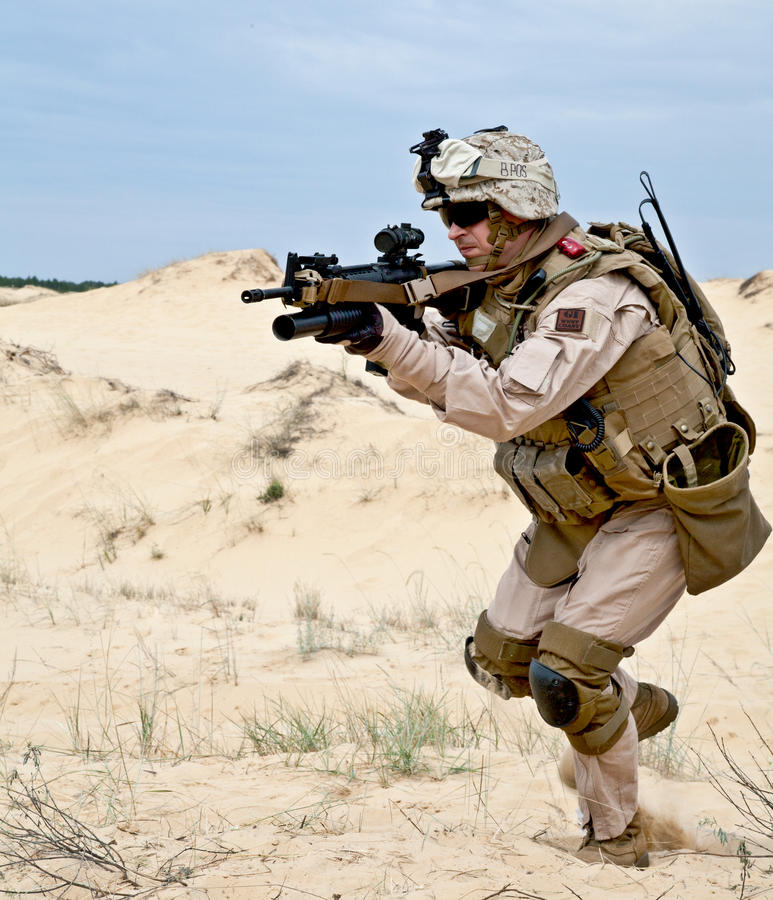 Fighting in the desert stock image