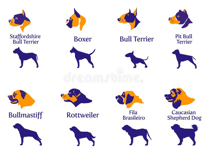 Fighting dogs such silhouette and head vector illustration