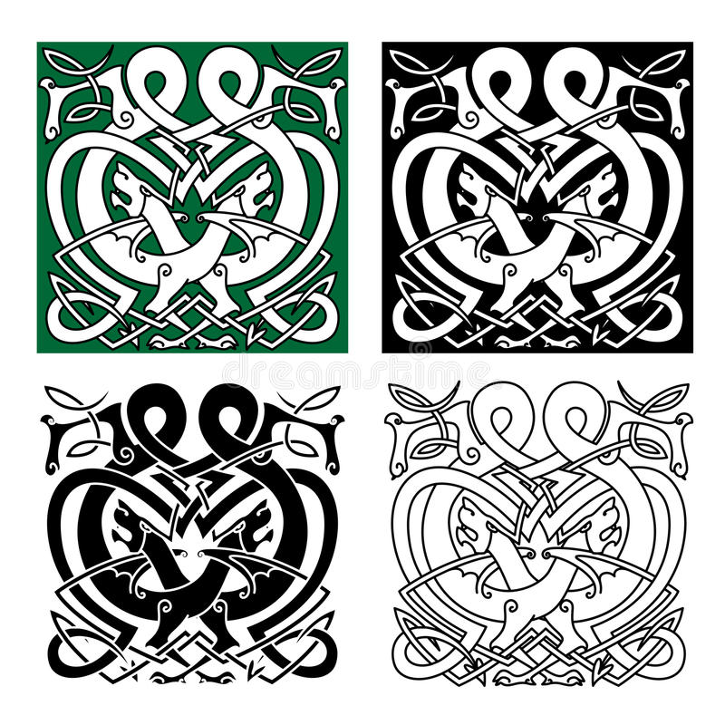 Fighting dragons with celtic knot ornaments royalty free illustration