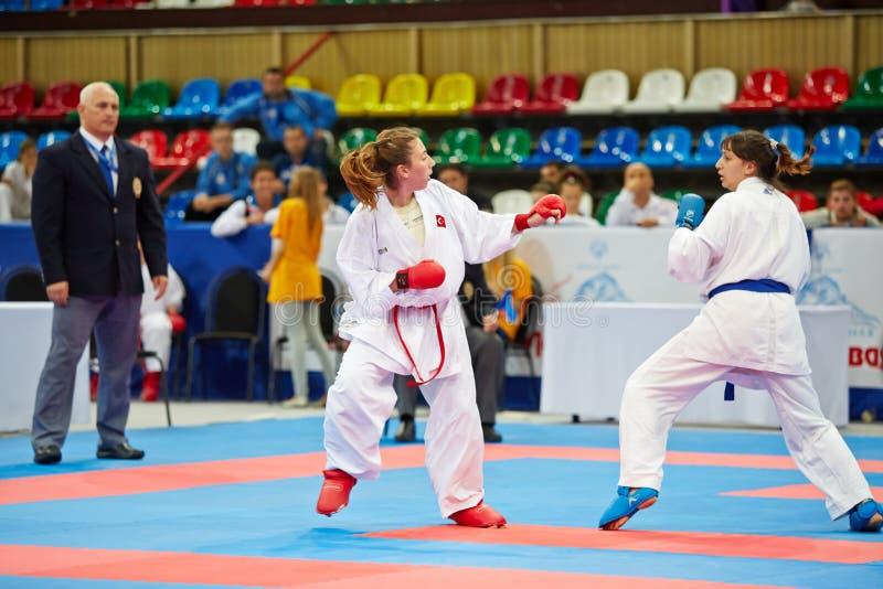 Fighting episode between female participants stock photo