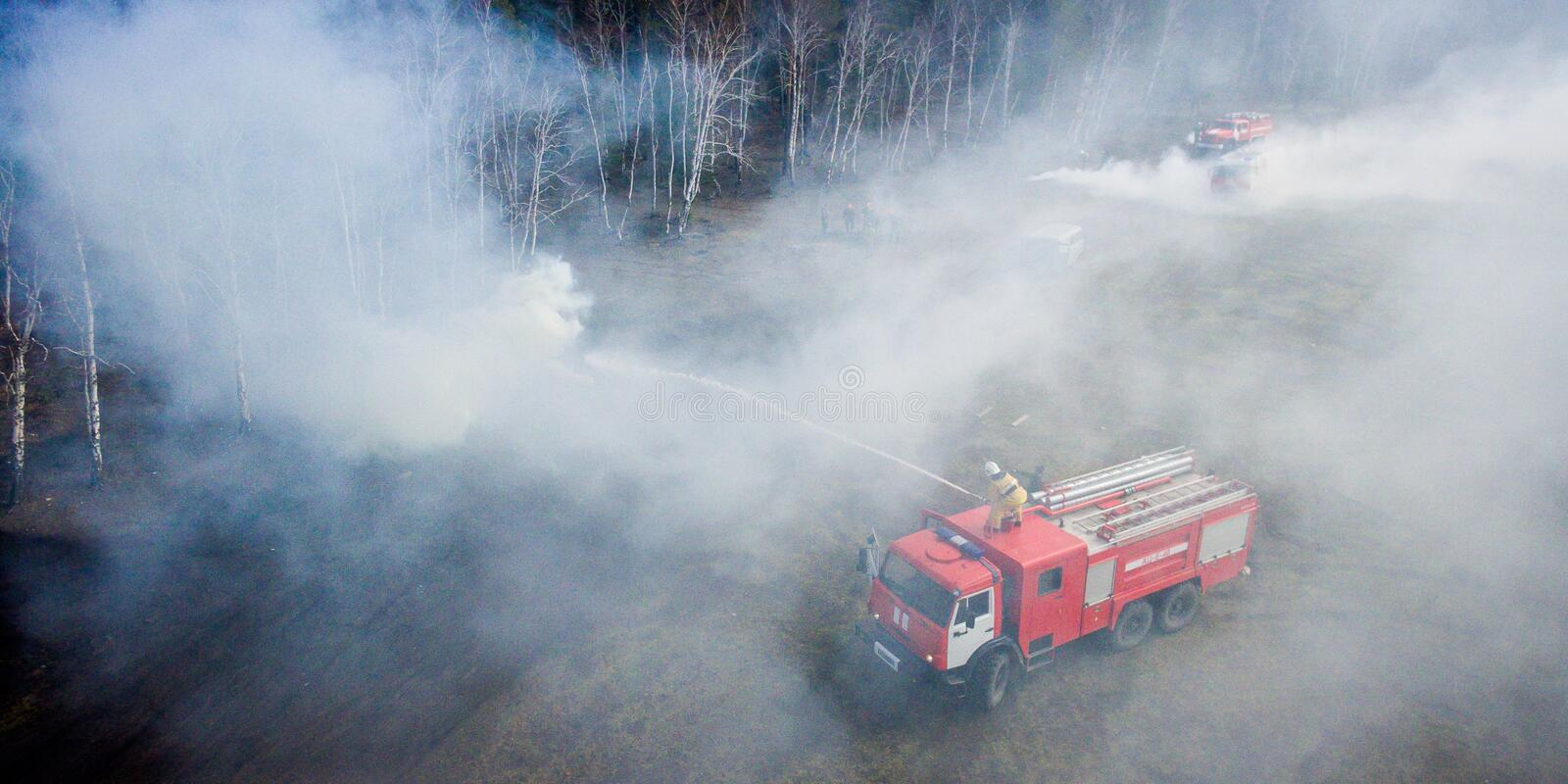 Fighting the forest fire stock photography