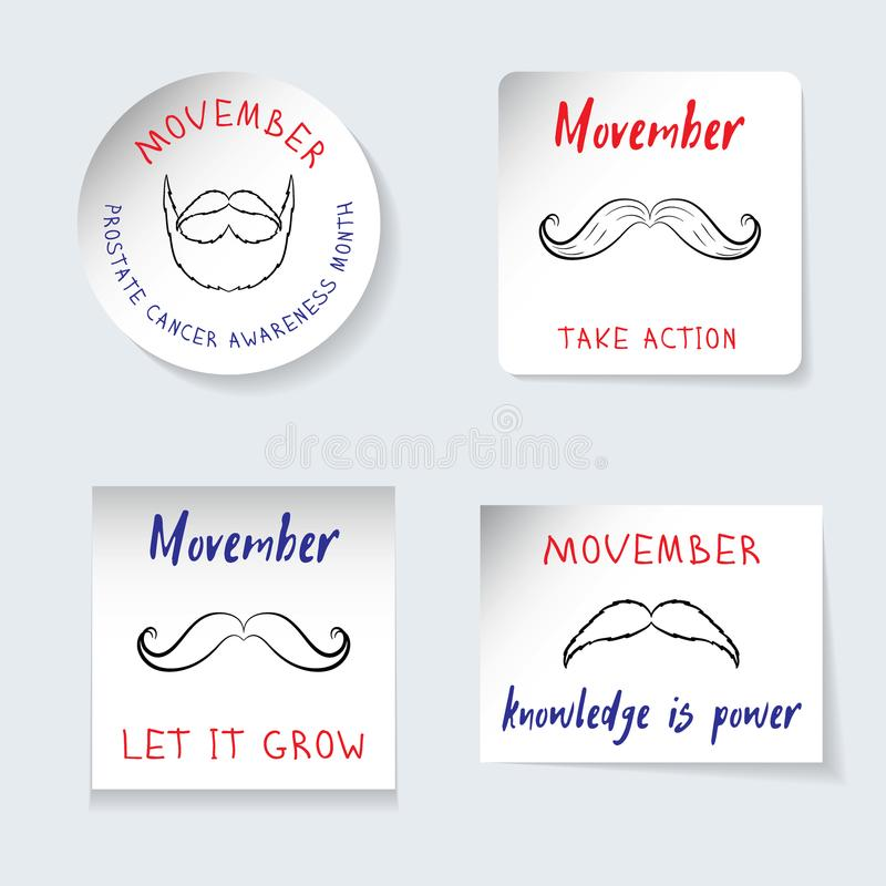 Fighting Prostate Cancer Movember theme. Set of stickers, banners of different shapes. Reminding inscriptions, symbols, mustache, stock illustration