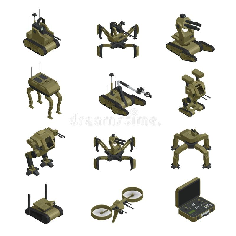 Fighting Robots Isometric Icons royalty free illustration