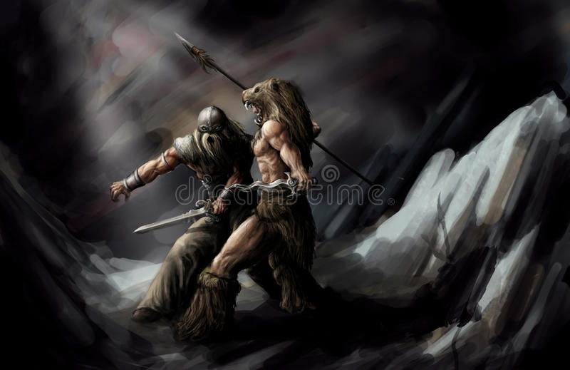 Download Fighting to the death stock illustration. Image of cave - 24740525