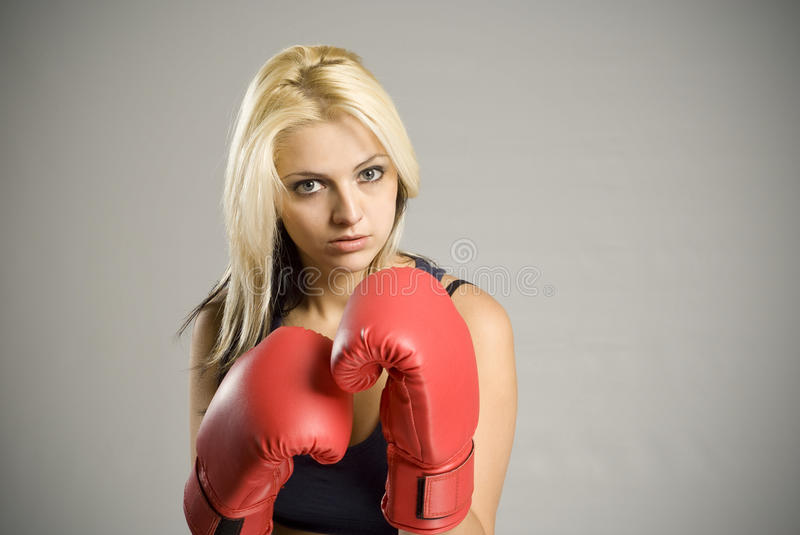 Download Fighting Woman Boxer With Red Gloves Stock Image - Image: 21635569