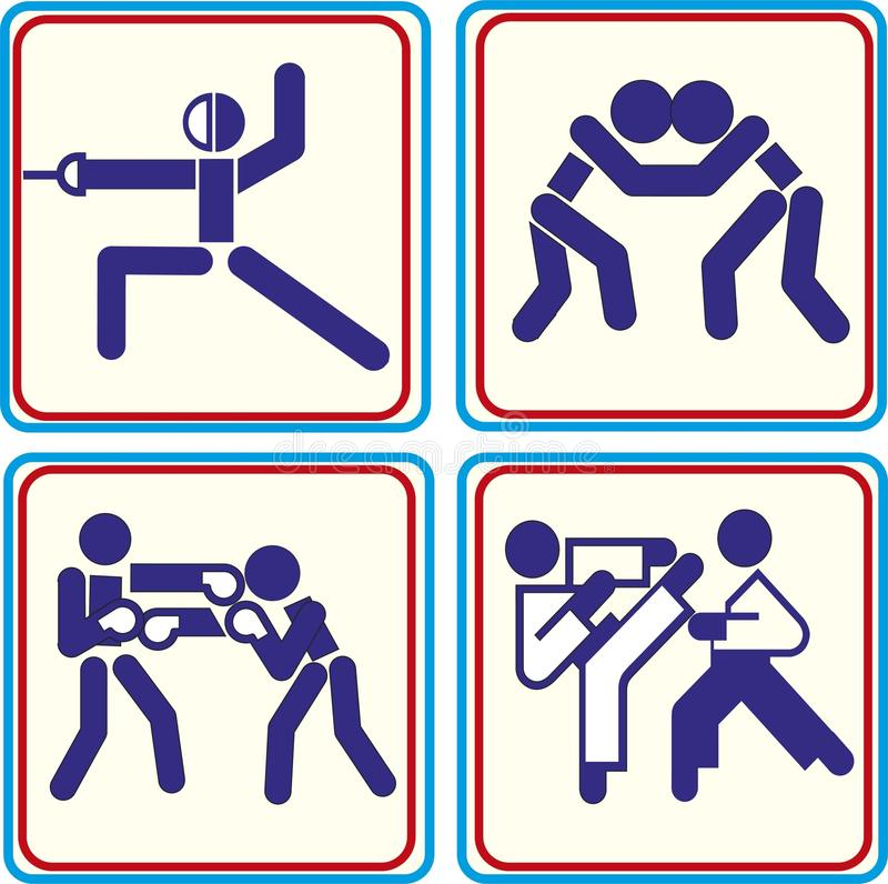 Fighting, wrestling martial arts and boxing icons Vector icons for digital and print projects vector illustration