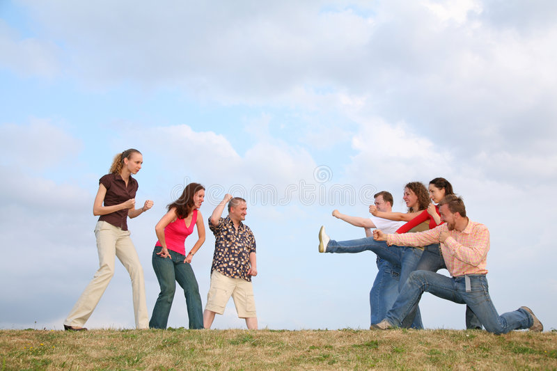 Fights friends royalty free stock photography
