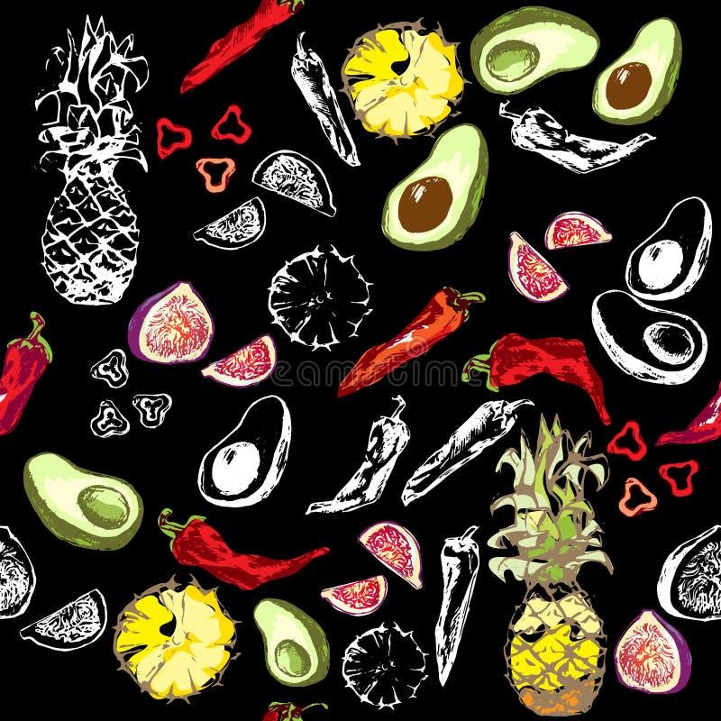 Figi, chili, ananas, avocado, biała kontur owoc na czarnym tle w kolorze i ilustracji