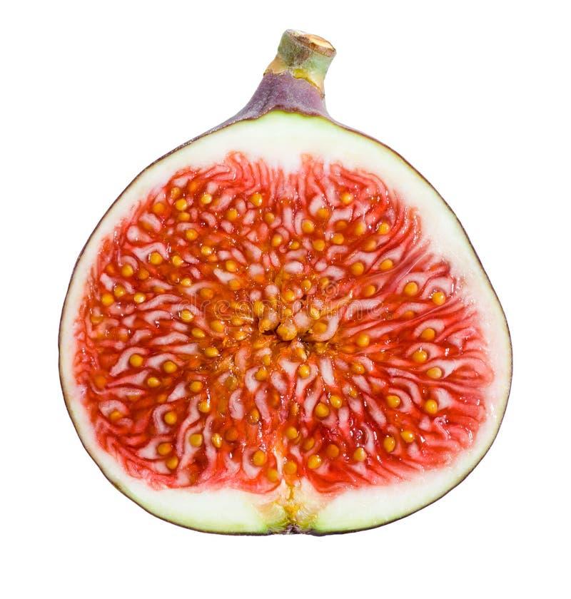 Figi. Dojrzała owoc. Połówka na białym tle obraz royalty free