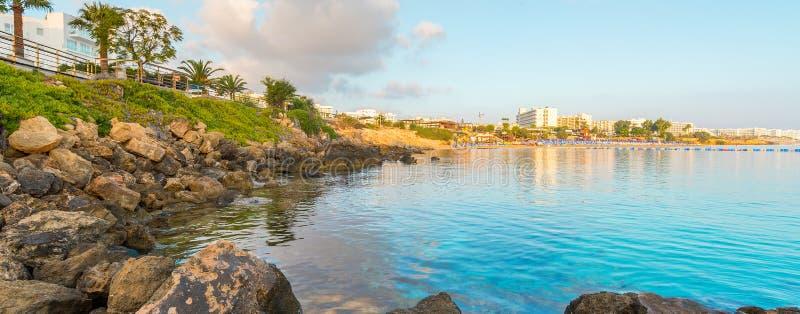 Figi drzewa zatoki plaża w Protaras, Cypr zdjęcie royalty free