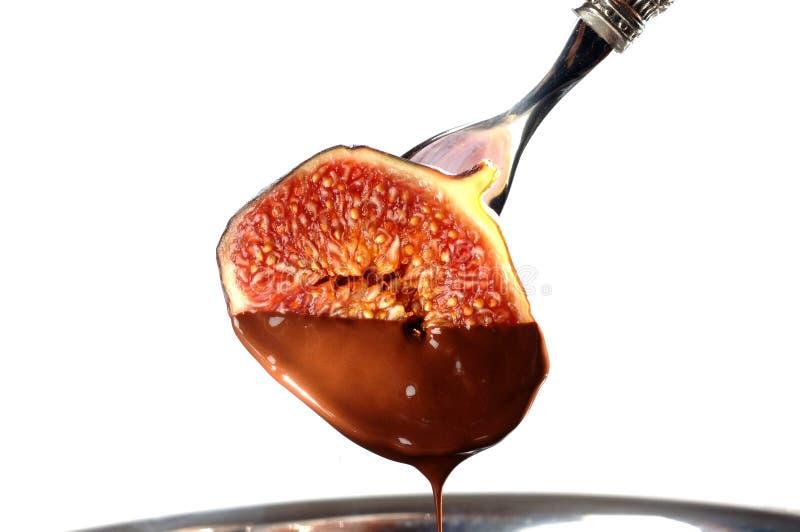 Figi owoc z czekoladą fotografia royalty free