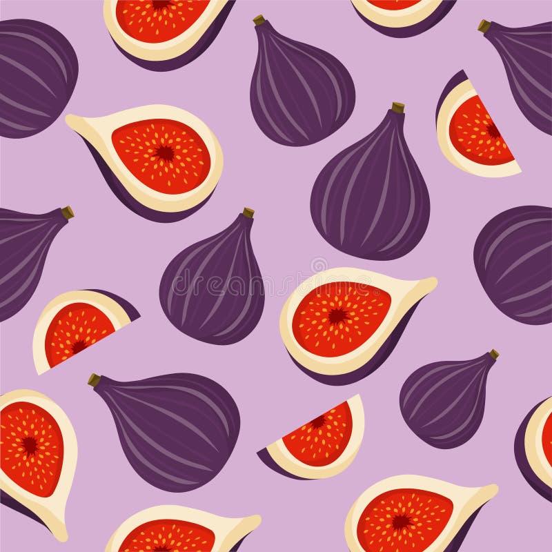 Figi tła bezszwowy deseniowy wektor Figi owoc tekstura royalty ilustracja