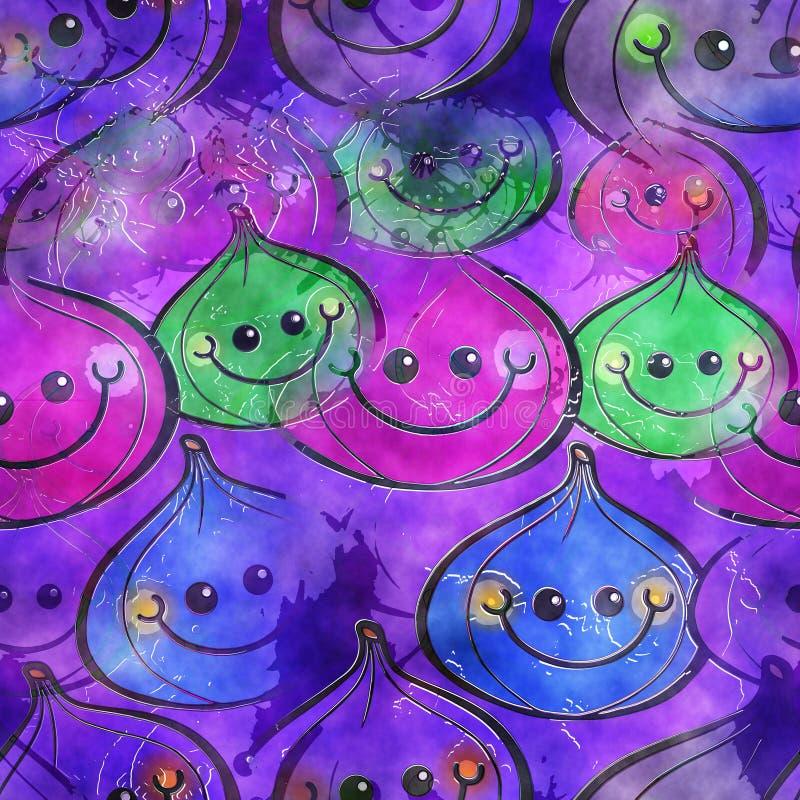 Figi Watercolour tła Tekstylny papier ilustracji